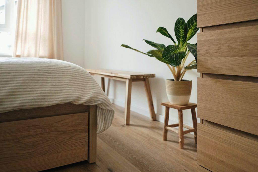 plant op slaapkamer