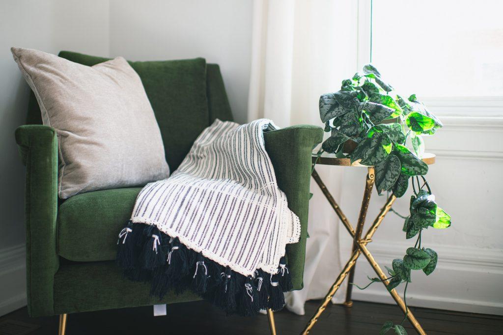 sofa met kamerplant